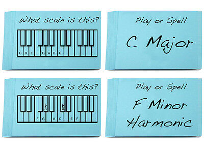Music Scale Flashcards - 50 cards for learning all your Major & Minor Scales