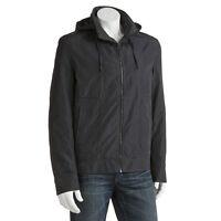 Apt 9 Lined Zipper Front Nylon Men's Grey Jacket W/ Hide Away Hood - Sz L/xl/xxl