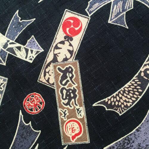 chinese barkcloth oriental cotton black grey kimono style Japanese fabric