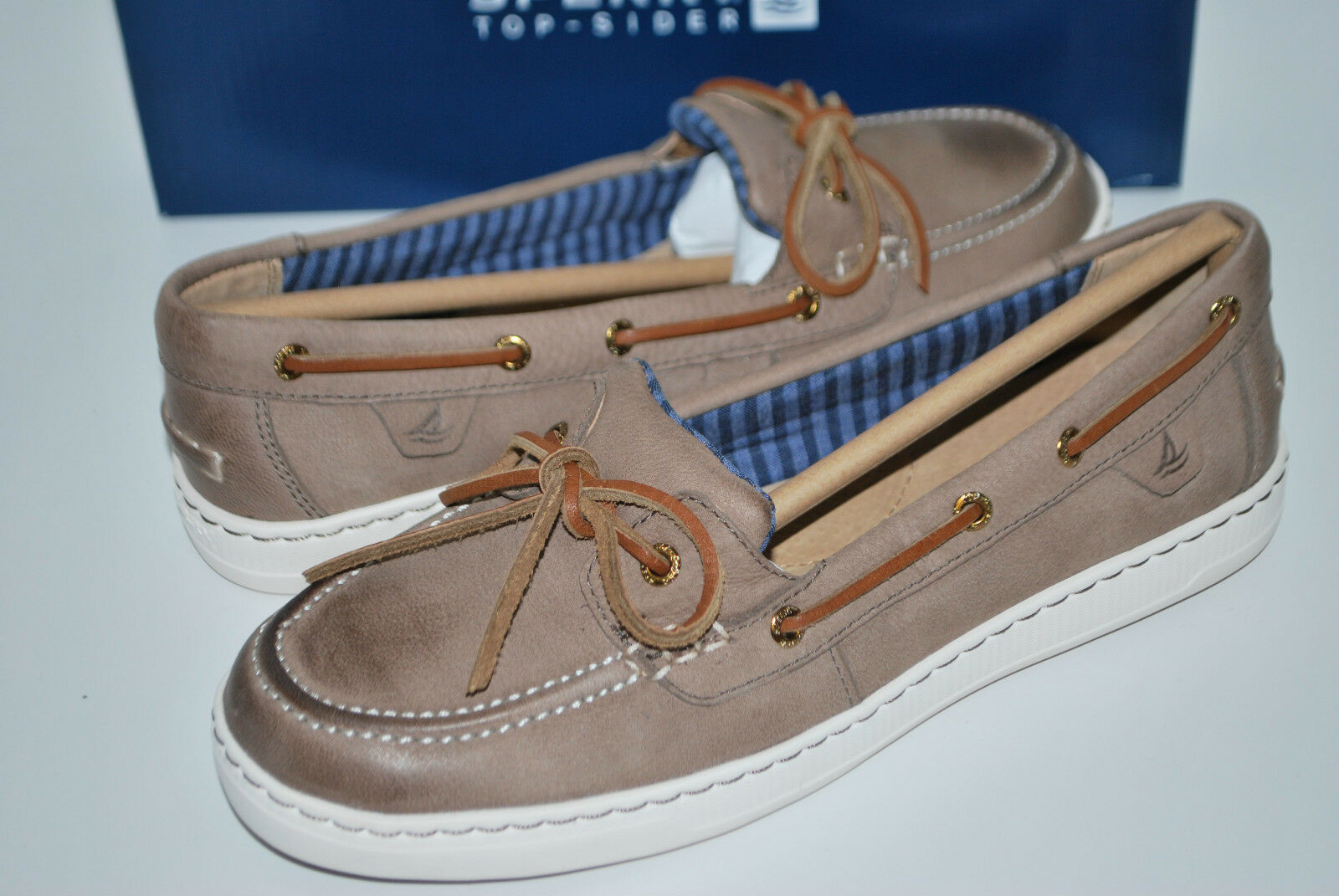 nuovo NIB SPERRY HARBOR STROLL GREIGE 6.5 8 10 11 LEATHER LOAFERS BOAT sautope 1 EYE