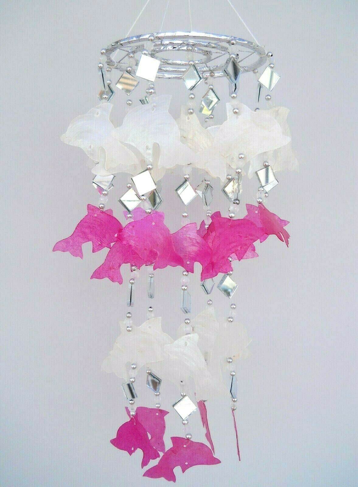 Capiz Shells Shape Jellyfish Windchime Mobile Pink & White Dolphins 45 cm