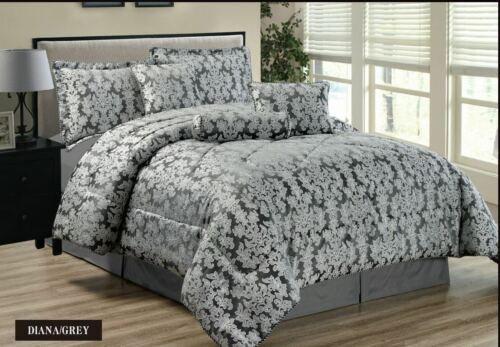 Luxurious 7PCS Quilted Jacquard Bedspread Double King Super king OR Curtains