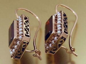 E144-Genuine-9ct-ROSE-Gold-Natural-Garnet-Pearl-Cluster-Earrings-lever-back