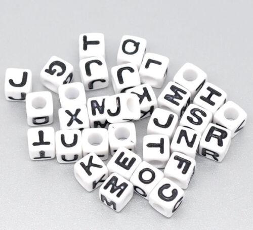 Lettres Perle A-Z acrylique Cube 7x7mm BLANC//NOIRE police 1x//300st 01.00358