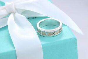 57659ccfe Tiffany & Co Sterling Silver Atlas Roman Numeral Narrow Ring Size 7 ...
