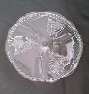 Vintage Mikasa Crystal Glass Footed Cake Plate Stand Satin Orchid ...