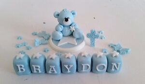 EDIBLE-TEDDY-CAKE-TOPPER-DECORATION-CHRISTENING-BOY-NAME-CROSS-FREE-RIBBON-amp-GL