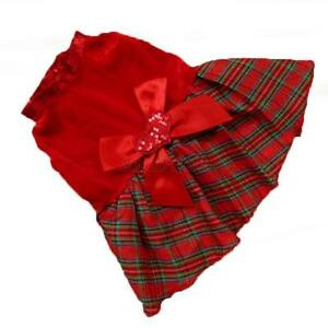 Lovely-Puppy-Plaid-Bow-Apparel-Red-Dress-Clothes-Pet-Dog-Skirt-Christmas-Party