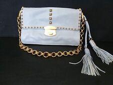 "Handbag Prada Lt/Med Blue Leather Gold Tone Chain Handle 9""x5""x2"""