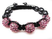 Pink Crystal Shamballa Beaded Hematite Disco Ball Hip Hop Bracelet 2