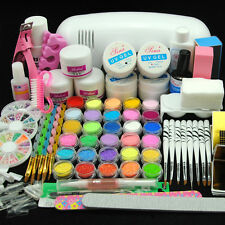 9W UV Gel Curing Lamp Dryer 30 Nail Art Acrylic Glitter Powder Liquid Salon Kit
