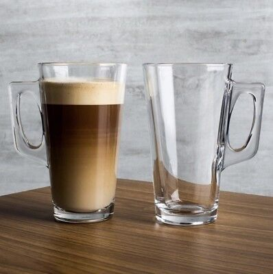 2x Large Latte Coffee Mugs Cups For Xl Costa Tassimo Pods 380ml Tempered Glass Ebay
