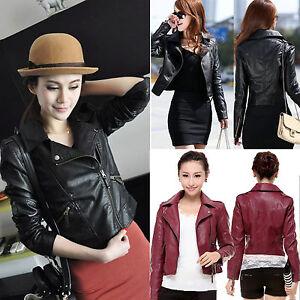 Women-Synthetic-Leather-Jacket-Biker-Motorcycle-Zipper-Short-Slim-Fit-Solid-Coat