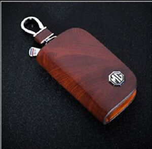 MG Leather Car Key Keychain Fob Case Holder Zipper Cover High Quality Brown
