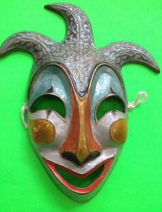 UNIQUE & RARE CIRCA LATE 70'S-EARLY 80'S BRASS(?) 'COMEDY' MASK FROM NEW ORLEANS