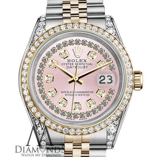 Ladies Rolex SS & 18k 26mm Datejust Watch Pink String Diamond Dial