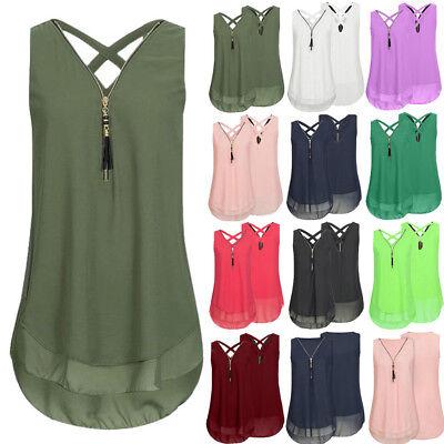 Women Sleeveless Tank Vest Top Cross Back Zipper V-Neck Camis Shirt Blouse S-5XL