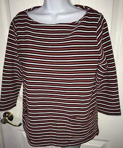 J-Jill-Knit-Top-MEDIUM-3-4-Sleeve-Boatneck-Striped-Stretch-Pockets-Red-Black
