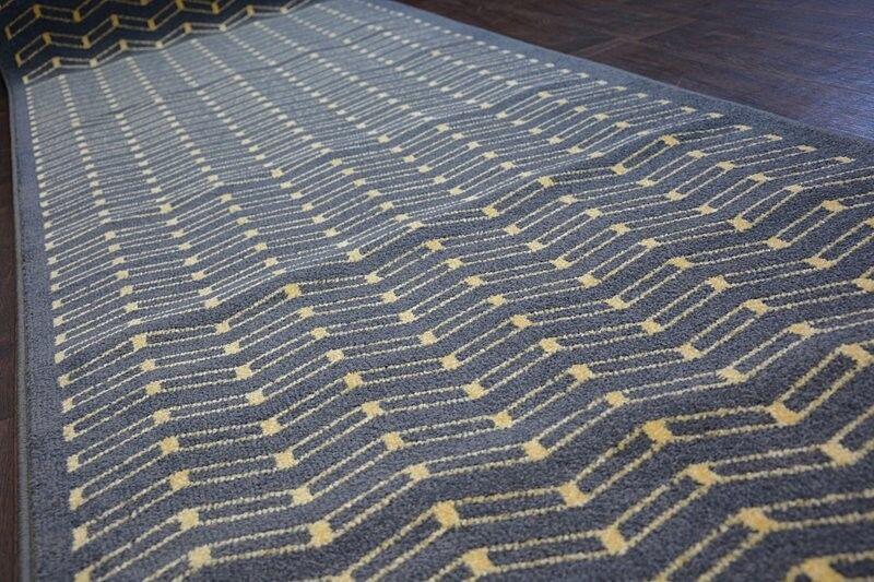 Modern Hall Runner Funky Haut Lok Lok Lok Graphite Zigzag largeur 80 - 100 cm long Agnella | Jolie Et Colorée  cb8e3c