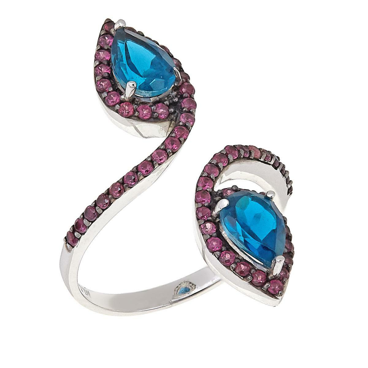 RARITIES 2.04CT blueE TOPAZ & RHODOLITE STERLING OPEN-WRAP RING SIZE 10 HSN  119