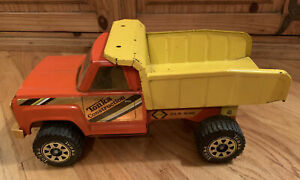 Vintage-1980-039-s-Tonka-Construction-Dump-Truck-Orange-Yellow-Pressed-Steel-Collect