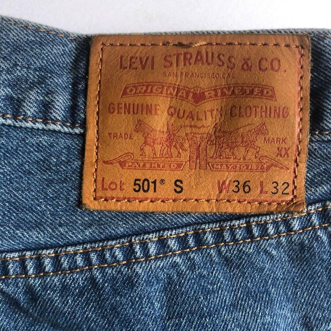 Vintage 90's Levi's 501 S Medium Wash Distressed … - image 3
