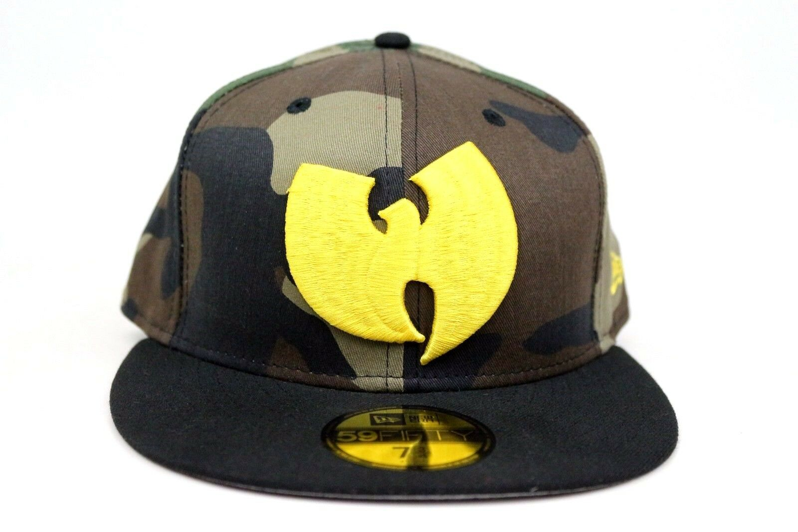 b91b034d ... best wu tang clan 90s rap woodland camo black yellow new era 59fifty fitted  hat cap