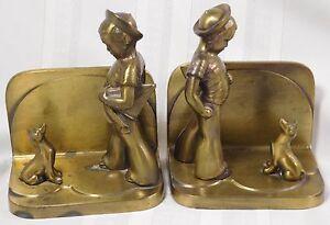 Vtg FrankArt Boy Dog Art Deco Bronze Bookends