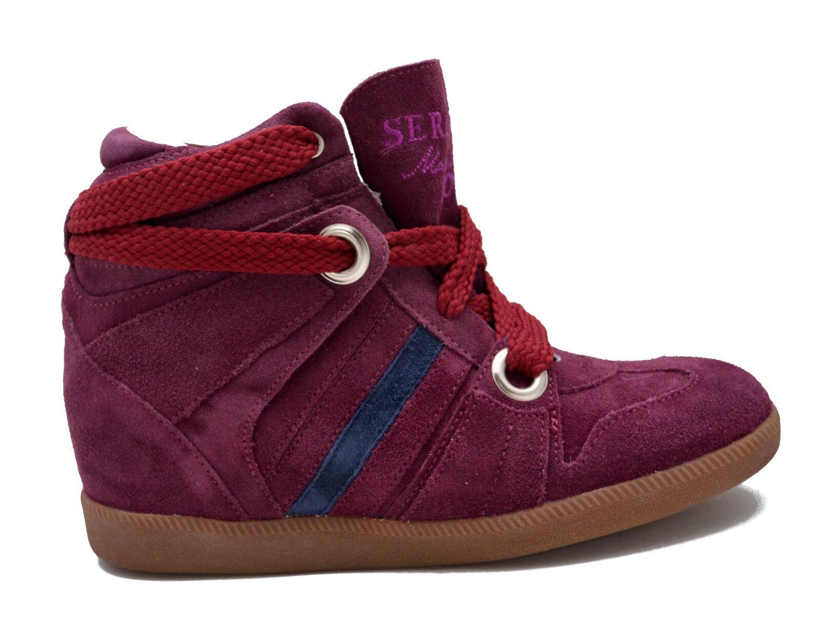 Scarpe Pelle Donna Bordeaux Zeppa Serafini Sneakers Women