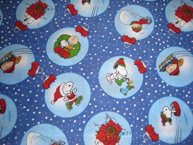 peanuts snoopy christmas ornament fabric fat quarter 18 - Snoopy Christmas Ornament