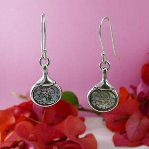 SPIRA-Handmade-Green-Roman-Glass-Stone-925-Sterling-Silver-Drop-Dangle-Earrings