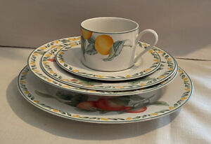 JULIE-POPLE-5-Piece-Set-of-COUNTRY-FRUIT-COLLECTION-Plates-Cup-Saucer-Bowl-NICE