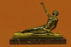 Nude-Girl-Sensual-100-Solid-Bronze-Marble-Base-Statue-Classical-Sculpture-Deco