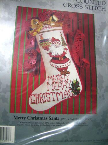 Vintage Santa~Christmas Stocking Counted Cross Stitch Kit