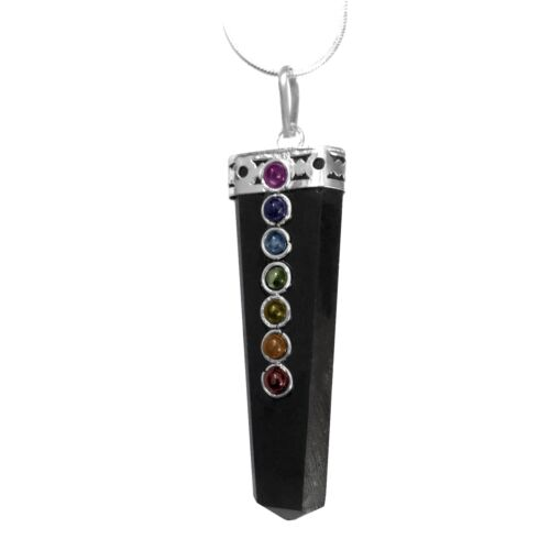 CHARGED Black Tourmaline Crystal Chakra Pendant Sterling Silver Necklace Reiki