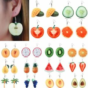 Womens-3D-Double-Side-Acrylic-Fruit-Orange-Dangle-Drop-Hook-Earrings-Jewellery