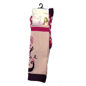 VIOLETTA calzini lunghi rosa e fucsia a righe in cotone da bambina
