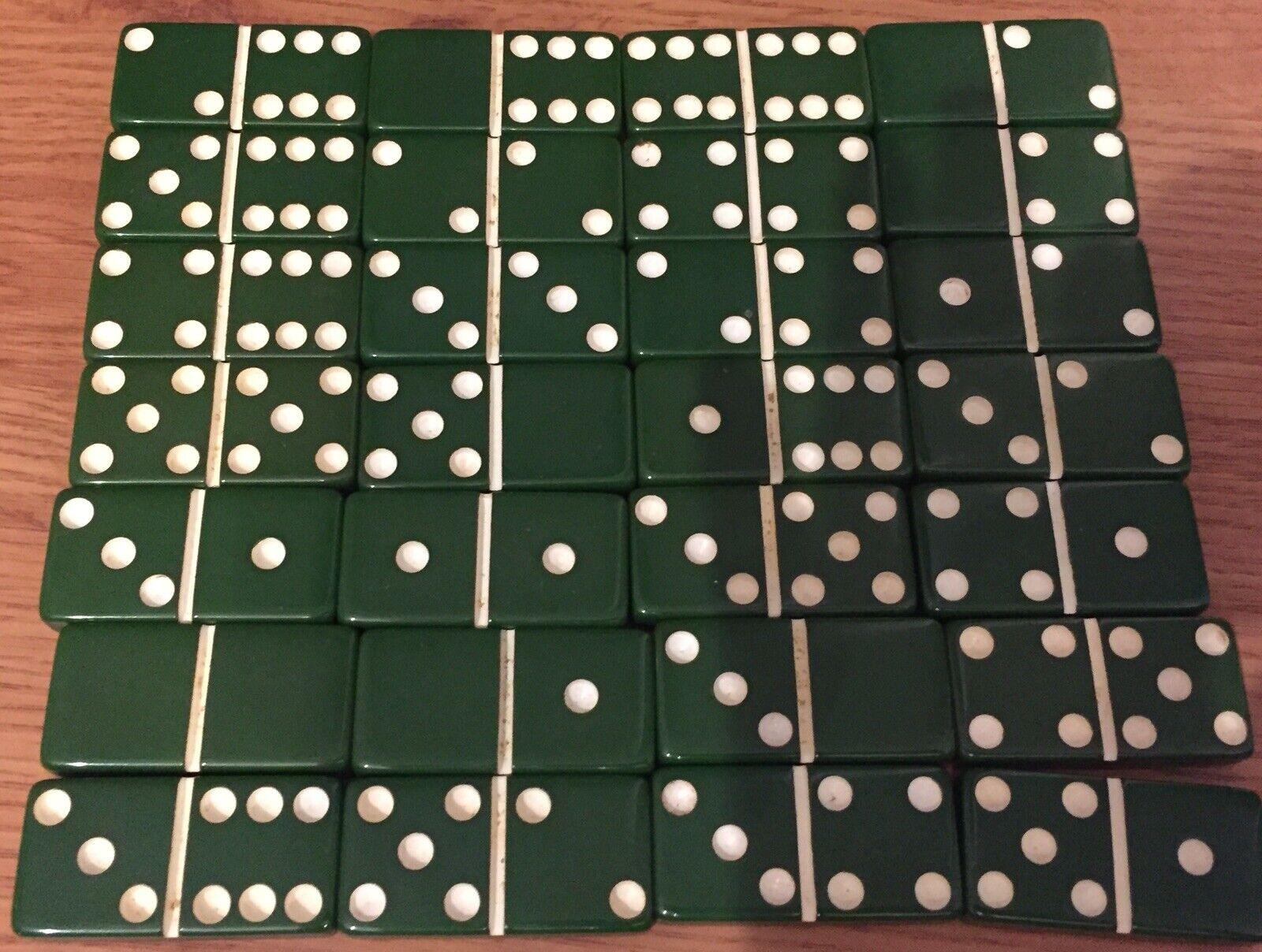 28 Vintage Green Dominoes Bakelite