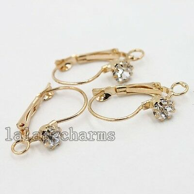 20x Stylish Rhinestone Rose Gold French Hooks Earring Earwires Jewelry Craft LC