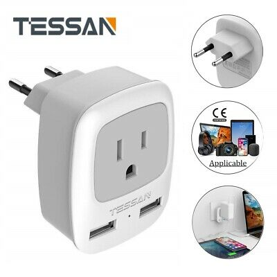 TESSAN USA to Most of Europe Travel Plug Adapter with 1 AC Outlet /& 2 USB Ports