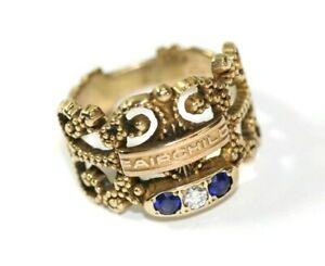 Vintage-Fairchild-10K-YELLOW-GOLD-SAPPHIRE-DIAMOND-Womens-Ring-Size-6-5-5-7-Gram