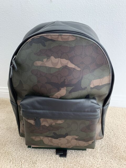 NEW MEN/'S COACH F31557 CAMOUFLAGE GRAY MULTI CHARLES LEATHER BACKPACK BAG