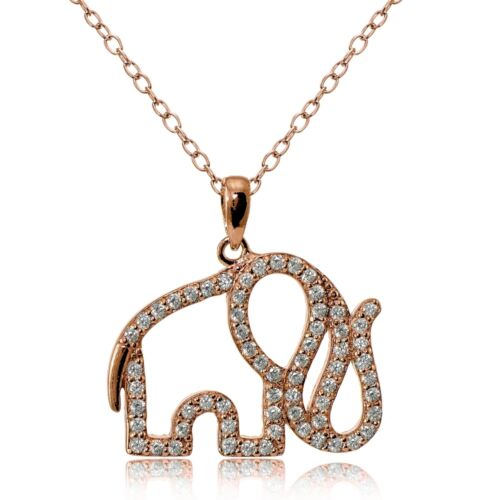 Rose Gold Tone over Sterling Silver Cubic Zirconia Elephant Necklace