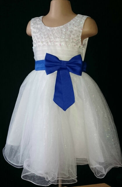 Royal Blue White Flower Girl Bridesmaid Wedding Prom Sparkly Party Dress 2-13y
