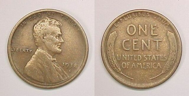 1918-P LINCOLN PENNY CENT VF VERY FINE!!!