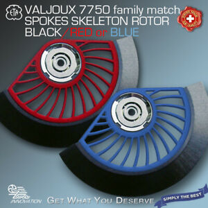OSCILLATING-WEIGHT-SKELETON-ROTOR-SPOKES-RED-OR-BLUE-FIT-VALJOUX-7750-FAMILY