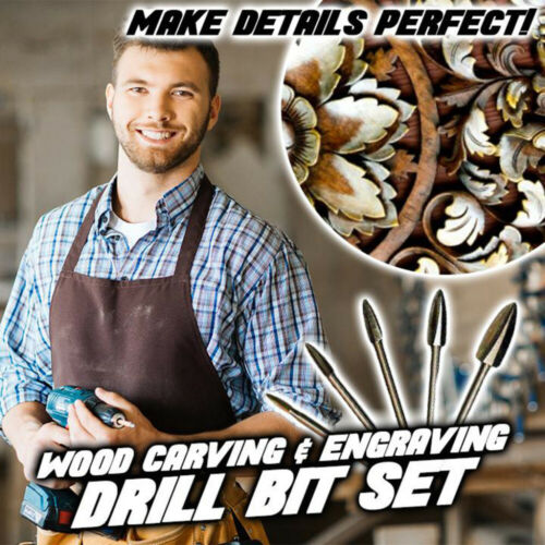 Wood Carving And Engraving Drill Bit Milling Root Cutter Carving Tools 5Pcs//Set
