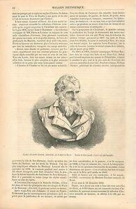 Buste-de-Charles-Alexandre-Lesueur-Naturaliste-Le-Havre-GRAVURE-OLD-PRINT-1860