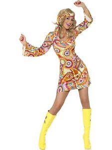 Hippie Chick Costume Disco 1970s 1960s Groovy Retro Dance Image