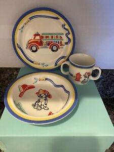 2005-Tiffany-FIRE-STATION-Truck-amp-Dalmatian-Child-3-Pc-set-Cup-Plate-amp-Bowl-NEW